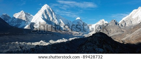 khumbu valley, khumbu glacier and pumo ri peak - nepal - stock photo
