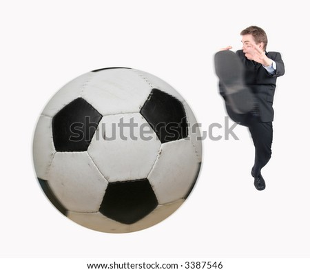 Kicing the ball - stock photo