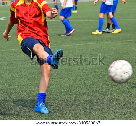 Kick off on the soccer field - stock photo