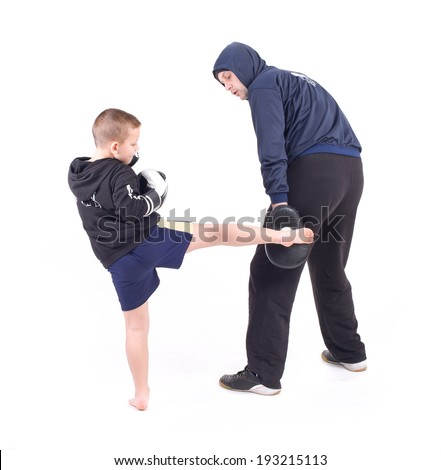 kickboxing kids with instructor. Isolated on a white background. Studio shot - stock photo