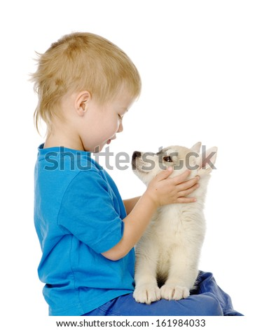 Kid and hasky puppy dog. isolated on white background - stock photo