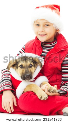 kid and puppy in Christmas clothes on a white background isolated - stock photo