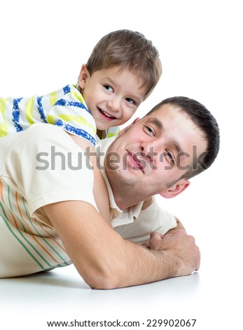 kid boy embracing dad father isolated on white - stock photo