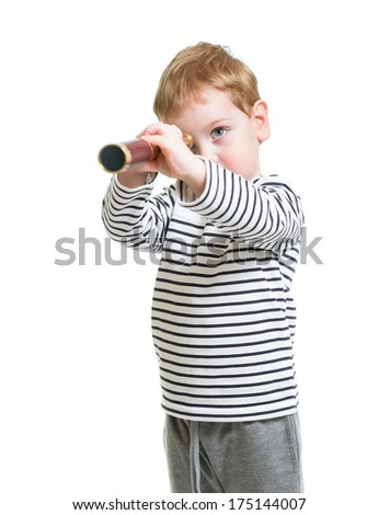 Kid boy looking ahead with telescope isolated - stock photo