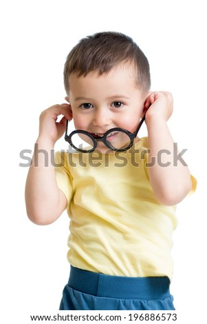 kid boy wearing glasses isolated on white - stock photo