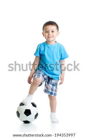 kid boy with soccer ball over white background - stock photo