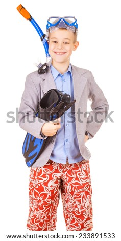 kid businessman wearing fins, snorkel and goggles hands folder with laptop, isolated on white - stock photo