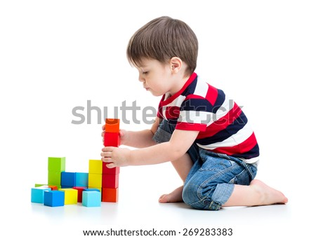 kid child boy playing on floor isolated - stock photo