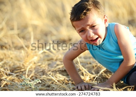 Kid crying on field - stock photo