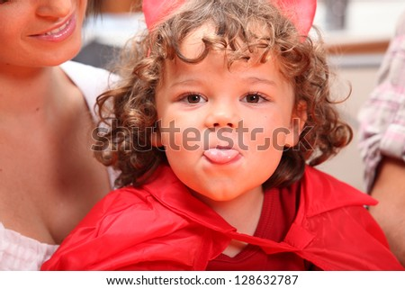 Kid dressed for Halloween - stock photo