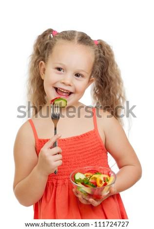 kid eating healthy food vegetables - stock photo