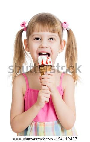 kid eating tasty ice cream - stock photo