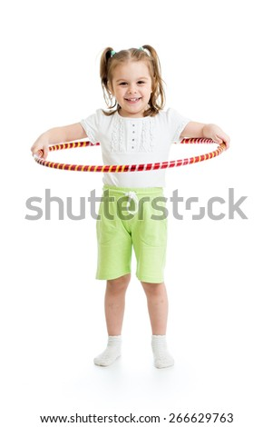 kid girl doing gymnastic with hoop on white background - stock photo
