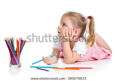 kid girl drawing with color pencils isolated on white - stock photo