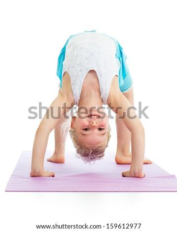 kid girl on yoga - stock photo