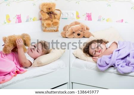 kid girl sleeping - stock photo