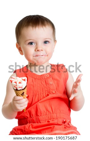 kid girl with ice cream isolated - stock photo