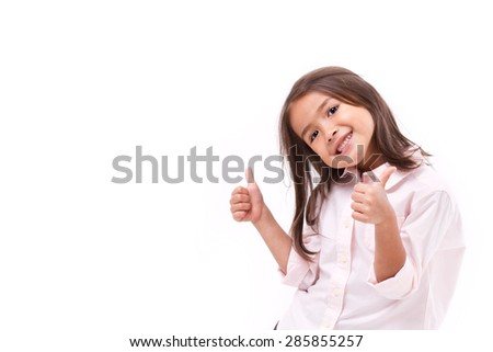 kid giving two thumbs up - stock photo