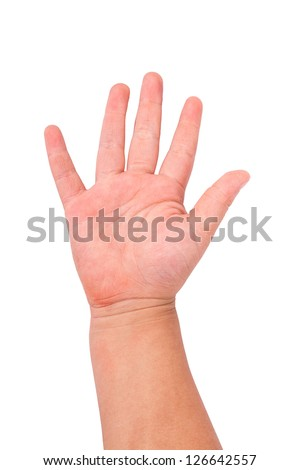 kid hand gesturing number five - stock photo