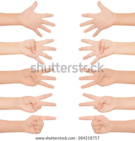 kid hand set shown 1-5 finger on isolated white background - stock photo