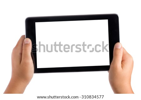 Kid Hands Holding Blank Screen Tablet Pc Isolated - stock photo