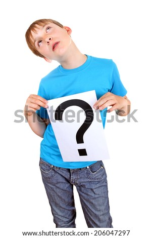 Kid holding a Paper with Question Mark on the White Background - stock photo