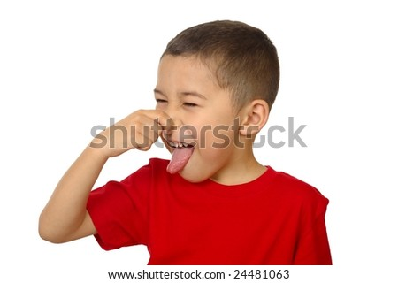 kid holding his nose, isolated on white - stock photo