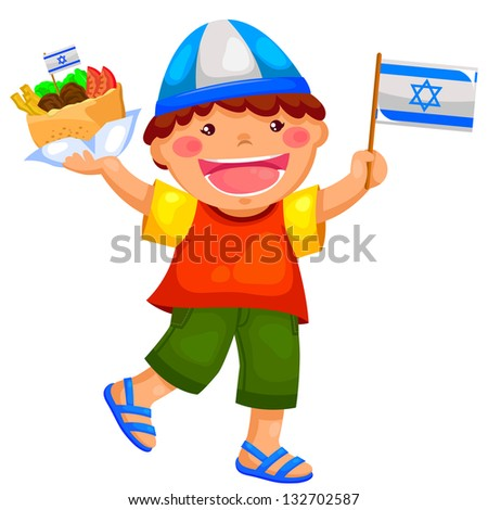 kid holding the Israeli flag and eating falafel (vector available in my gallery) - stock photo