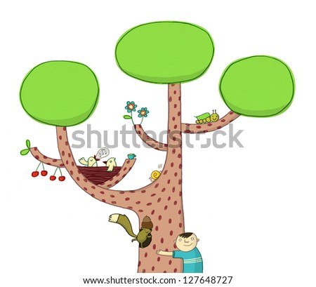 kid hugging a tree full of life - stock photo