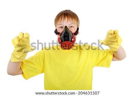 Kid in Gas Mask and Rubber Gloves Isolated on the White Background - stock photo
