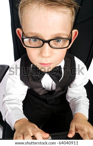 Kid in white shirt and glasses from top point - stock photo
