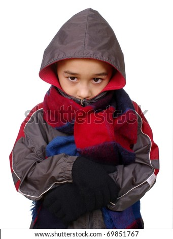 Kid in winter clothes peeking out of hood, seven years old, isolated on pure white background - stock photo