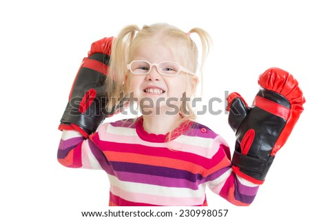 kid or child in eyeglasses boxing isolated isolated on white - stock photo