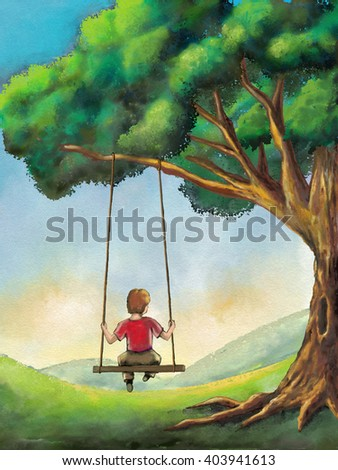 Kid playing on a swing in a country landscape. Digital illustration. - stock photo