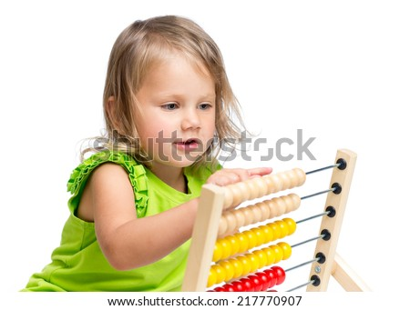 kid playing with abacus - stock photo