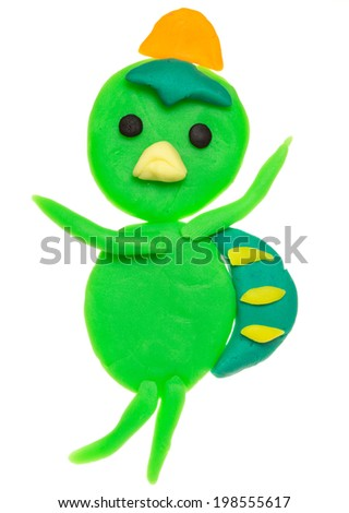 Kid's modelling clay model isolated on white - stock photo