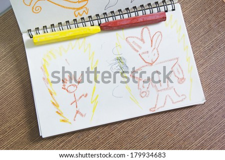 Kid's painting wiht pastel color - stock photo