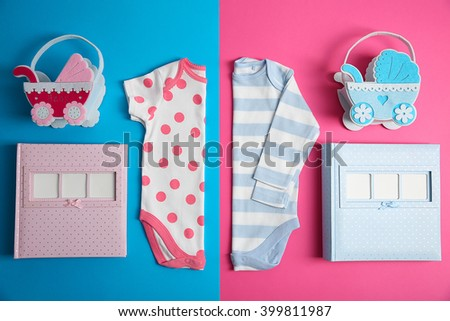 Kid's set on pink and blue background - stock photo