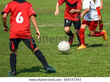 Kid's soccer match - stock photo