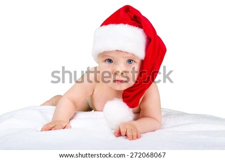 Kid. Santa Claus baby with gift box isolated on white background - stock photo