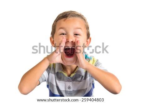 Kid shouting over white background - stock photo