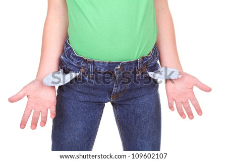 kid showing empty pockets, isolated on white - stock photo