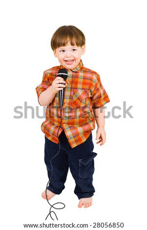 Kid singing, with black microphone on white background - stock photo