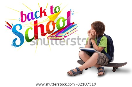 Kid sitting on skateboard with back to school theme isolated on white - stock photo