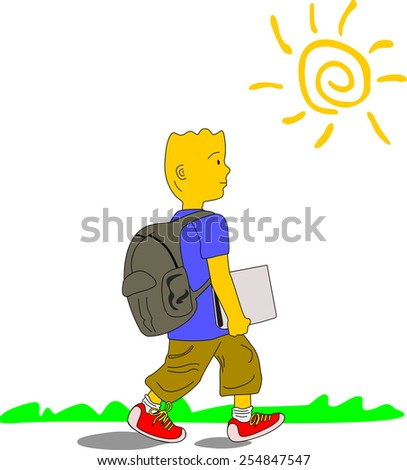 Kid wearing blue shirt, brown pants and red sneakers walks to school carrying his backpack and a file, on a sunny day. - stock photo