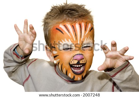 Kid with lion painted face. On white background. - stock photo