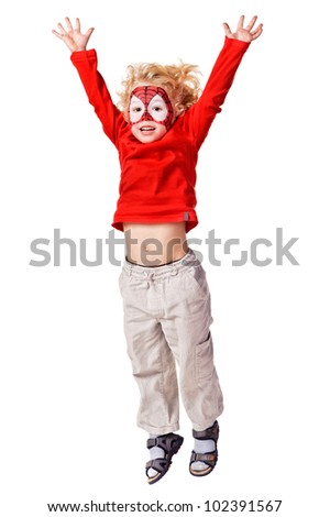 Kid with painted face. Isolated over white background - stock photo