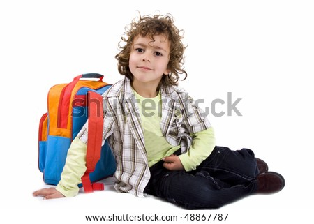 kid with school bag - stock photo