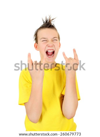 Kid with Sign of the Horns Isolated on the White Background - stock photo