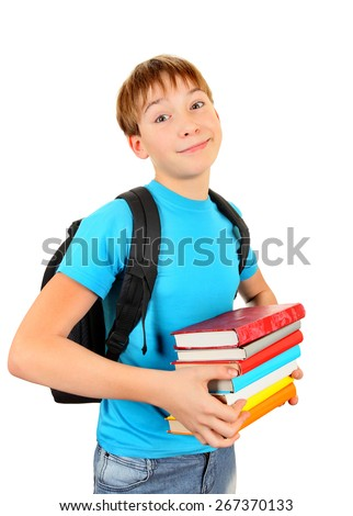 Kid with the Books Isolated on the White Background - stock photo
